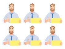 Homem de negócios que guarda o grupo vazio do sinal ilustração stock