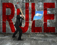 Homem de negócios que guarda o martelo que bate a palavra vermelha da REGRA em wal concreto Imagens de Stock Royalty Free