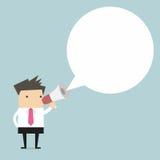 Homem de negócios que guarda o megafone com bolha do discurso para o texto Fotografia de Stock Royalty Free