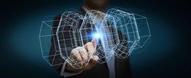 Homem de negócios que guarda o motor 3D digital Fotos de Stock
