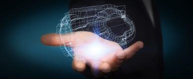 Homem de negócios que guarda o motor 3D digital Fotografia de Stock