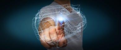 Homem de negócios que guarda o motor 3D digital Imagens de Stock Royalty Free