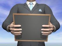 Homem de negócios que guarda o quadro-negro - 3D rendem Fotografia de Stock