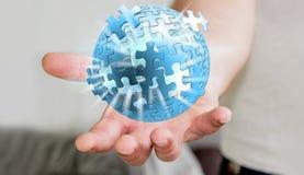 Homem de negócios que guarda o rendering' da esfera '3D do enigma do voo Imagem de Stock