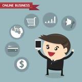 Homem de negócios que guarda o smartphone com ícone do negócio, busine em linha Fotografia de Stock Royalty Free