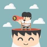Homem de negócios que guarda os binóculos que procuram o dinheiro Imagem de Stock