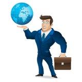 Homem de negócios que guarda a pasta e o globo Imagem de Stock Royalty Free