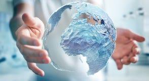 Homem de negócios que guarda a rede global na rendição da terra 3D do planeta Fotografia de Stock Royalty Free