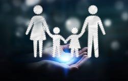 Homem de negócios que guarda a relação da família em sua rendição da mão 3D Fotografia de Stock Royalty Free