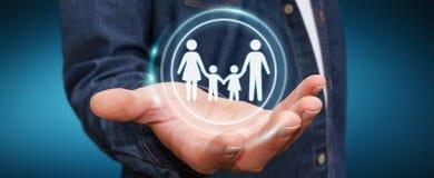 Homem de negócios que guarda a relação da família em sua rendição da mão 3D Fotografia de Stock