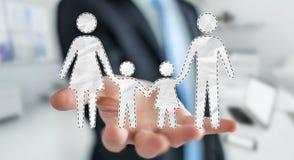 Homem de negócios que guarda a relação da família em sua rendição da mão 3D Imagem de Stock