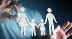 Homem de negócios que guarda a relação da família em sua rendição da mão 3D Fotos de Stock