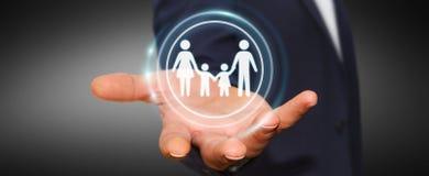 Homem de negócios que guarda a relação da família em sua rendição da mão 3D Imagens de Stock Royalty Free