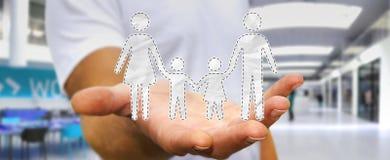 Homem de negócios que guarda a relação da família em sua rendição da mão 3D Foto de Stock