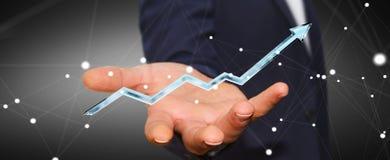Homem de negócios que guarda a rendição azul digital da seta 3D Imagem de Stock