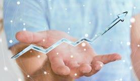 Homem de negócios que guarda a rendição azul digital da seta 3D Fotografia de Stock Royalty Free