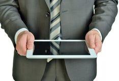 Homem de negócios que guarda a tabuleta digital, close up Fotografia de Stock Royalty Free