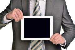 Homem de negócios que guarda a tabuleta digital, close up Foto de Stock Royalty Free