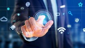 Homem de negócios que guarda um ícone do contato que cerca pelo app e pelo social Fotos de Stock