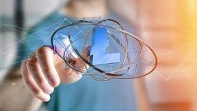 Homem de negócios que guarda um aroun cripto do voo do sinal de moeda do litecoin Foto de Stock
