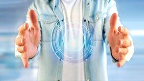 Homem de negócios que guarda um botão de contato technologic da rede do Shinny Foto de Stock Royalty Free