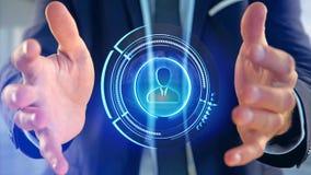 Homem de negócios que guarda um botão de contato technologic da rede do Shinny Imagens de Stock