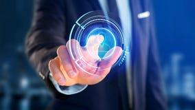 Homem de negócios que guarda um botão de contato technologic da rede do Shinny Fotografia de Stock