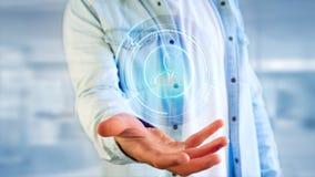 Homem de negócios que guarda um botão de contato technologic da rede do Shinny Imagem de Stock