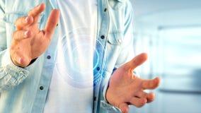 Homem de negócios que guarda um botão de contato technologic da rede do Shinny Fotos de Stock Royalty Free