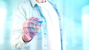 Homem de negócios que guarda um botão technologic da segurança do cacifo do Shinny Fotografia de Stock