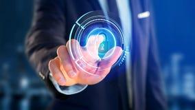 Homem de negócios que guarda um botão technologic da segurança do cacifo do Shinny Foto de Stock Royalty Free