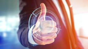 Homem de negócios que guarda um botão technologic do computador do Shinny - 3d com referência a Imagens de Stock Royalty Free