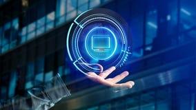 Homem de negócios que guarda um botão technologic do computador do Shinny - 3d com referência a Fotografia de Stock Royalty Free