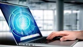 Homem de negócios que guarda um botão technologic do globo do Shinny - rende 3d Fotos de Stock