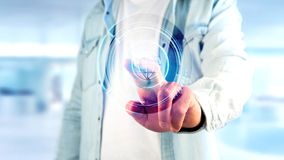 Homem de negócios que guarda um botão technologic do globo do Shinny - rende 3d Foto de Stock