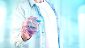 Homem de negócios que guarda um botão technologic do telefone do Shinny - rende 3d Foto de Stock Royalty Free
