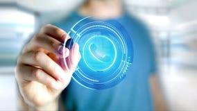 Homem de negócios que guarda um botão technologic do telefone do Shinny - rende 3d Fotografia de Stock