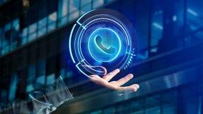 Homem de negócios que guarda um botão technologic do telefone do Shinny - rende 3d Imagem de Stock