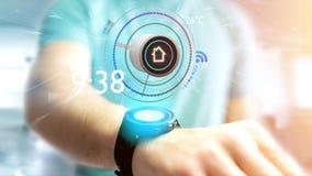Homem de negócios que guarda um botão de uma domótica esperta app - 3d Fotografia de Stock Royalty Free