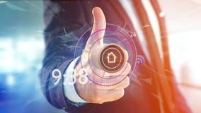 Homem de negócios que guarda um botão de uma domótica esperta app - 3d Imagens de Stock Royalty Free