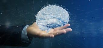 Homem de negócios que guarda um 3d que rende o cérebro artificial Imagem de Stock