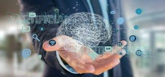 Homem de negócios que guarda um 3d que rende o conce da inteligência artificial Fotografia de Stock Royalty Free
