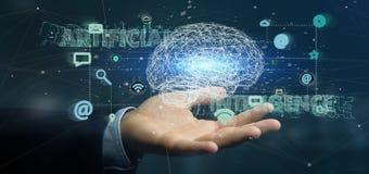 Homem de negócios que guarda um 3d que rende o conce da inteligência artificial Fotos de Stock Royalty Free