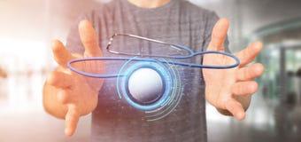 Homem de negócios que guarda um 3d que rende o estetoscópio médico Fotografia de Stock Royalty Free