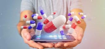 Homem de negócios que guarda um 3d que rende o grupo de comprimidos médicos Fotografia de Stock