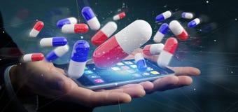 Homem de negócios que guarda um 3d que rende o grupo de comprimidos médicos Imagem de Stock Royalty Free