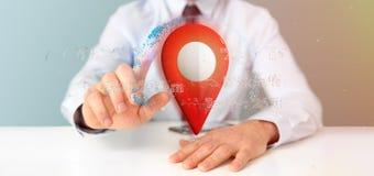 Homem de negócios que guarda um suporte do pino da rendição 3d em um globo com co Fotografia de Stock Royalty Free