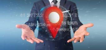 Homem de negócios que guarda um suporte do pino da rendição 3d em um globo com co Foto de Stock Royalty Free