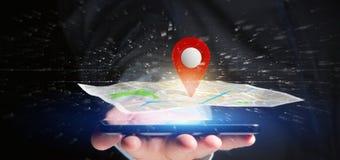 Homem de negócios que guarda um suporte do pino da rendição 3d em um mapa Imagens de Stock