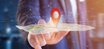 Homem de negócios que guarda um suporte do pino da rendição 3d em um mapa Imagem de Stock Royalty Free
